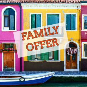 [FAMILY PACKAGE] 4,5-hour Motorboat Cruise: Panoramic City Tour + Venice Lagoon Islands Murano Burano and Torcello